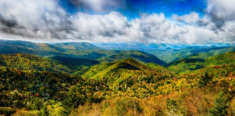 This is a 243 megapixel composite image, composed of 120 component images. It shows a random overlook on the Blue Ridge Parkway, just before the leaves were at peak.